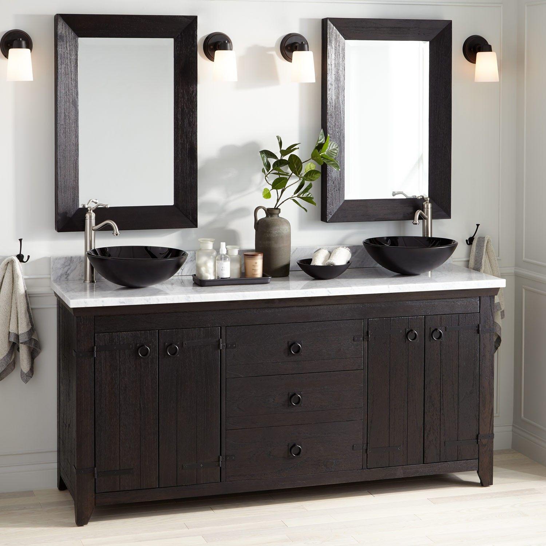 72 Kane Vessel Sink Double Vanity Rustic Black Bathroom
