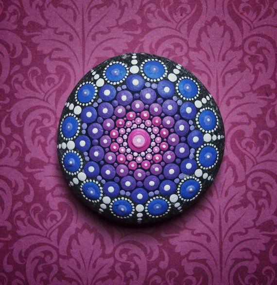 jewel drop mandala painted stone giant sea urchin. Black Bedroom Furniture Sets. Home Design Ideas