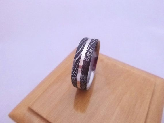 Stainless Damascus Steel White Gold Inlaid Unique Wedding Ring Hand