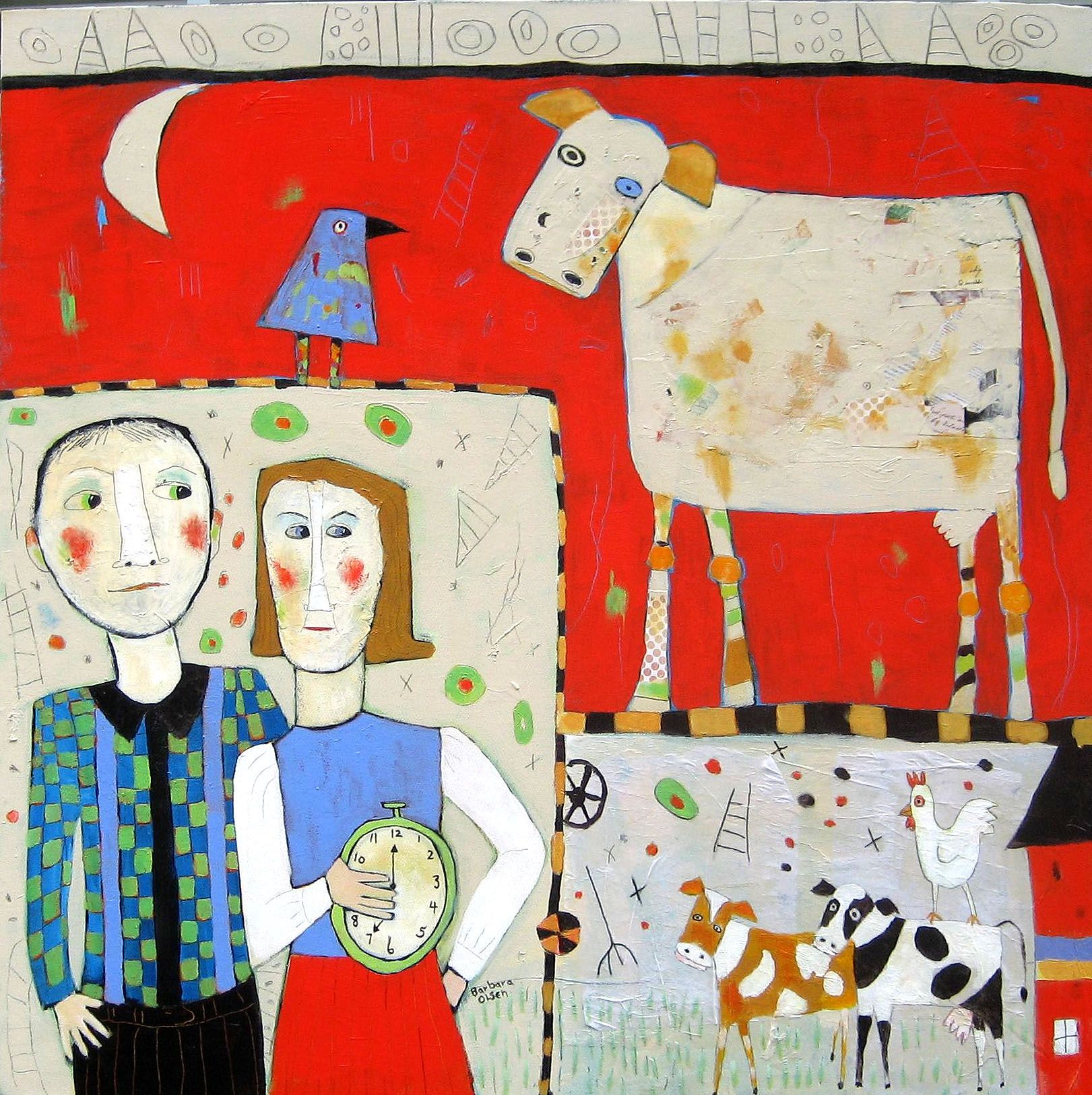 Waiting for the cows to come home. Mixed media on canvas. Barbara Olsen