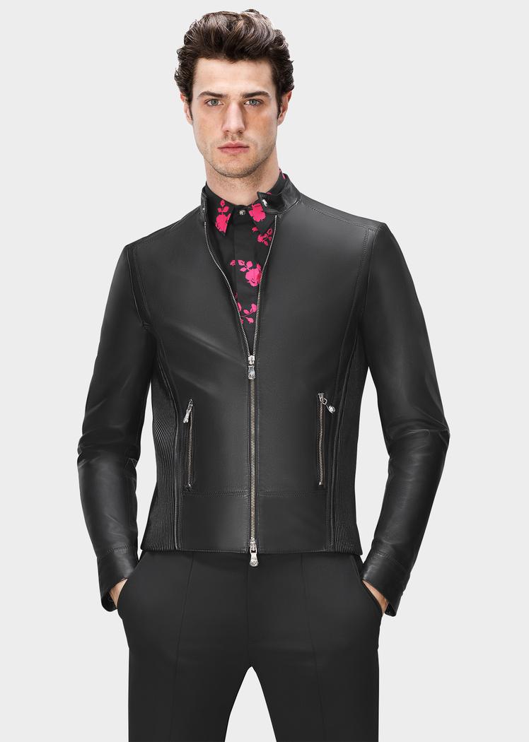 Versus Versace Taillierte Bikerjacke aus Leder für Herren | DE Online Store
