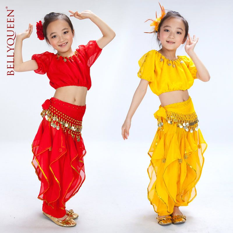 Children Belly Dance Sequin Top Pant Outfit Set kids Girl Festival Party Costume