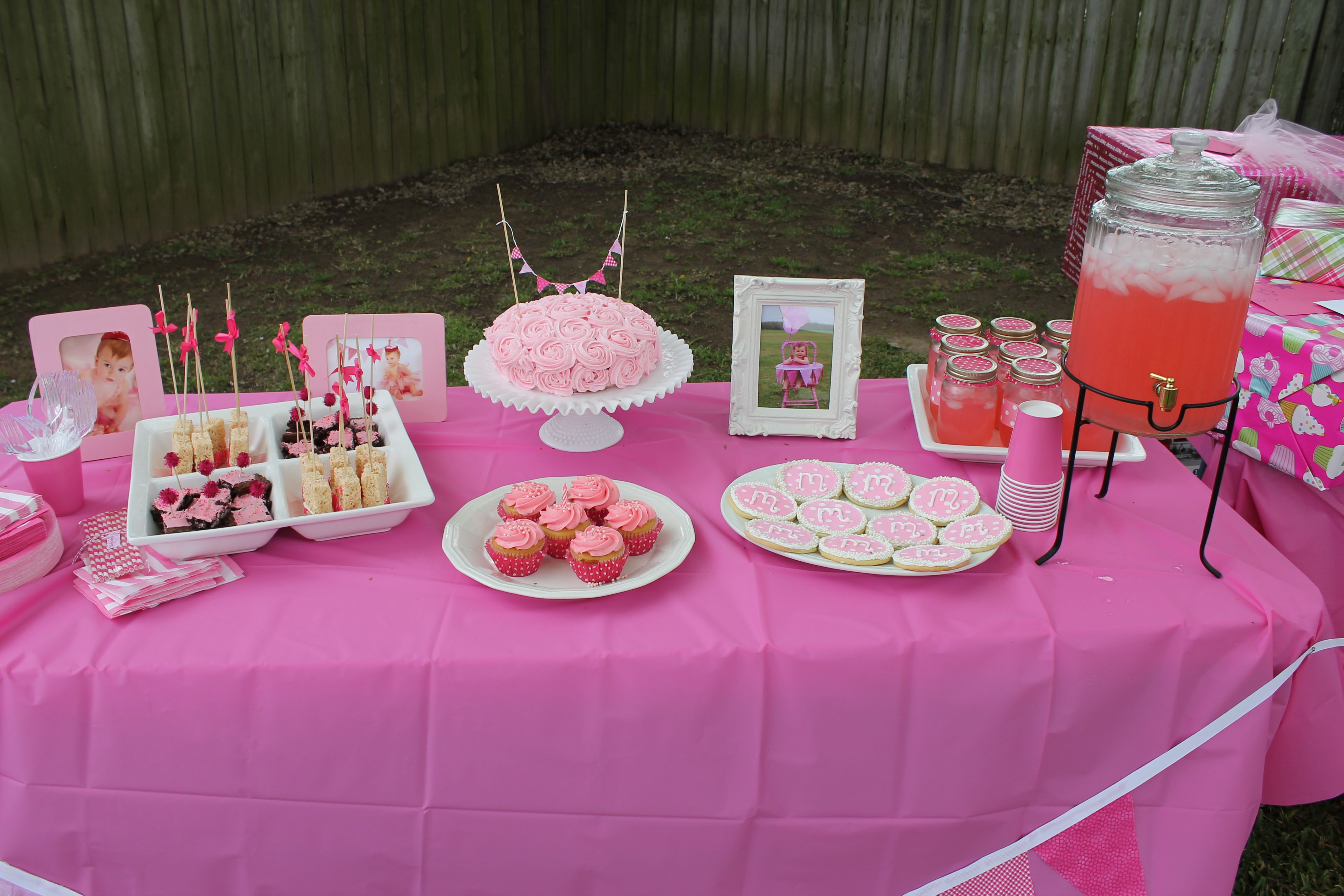Pink First Birthday Party Table Pink Food, Dark Pink Table