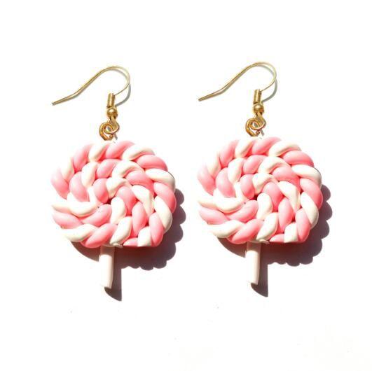 Earring For Women Resin Lollipop Drop Earrings Children Jewelry Custom Made Handmade Cute Girls Cotton Candy Gift – ERST55
