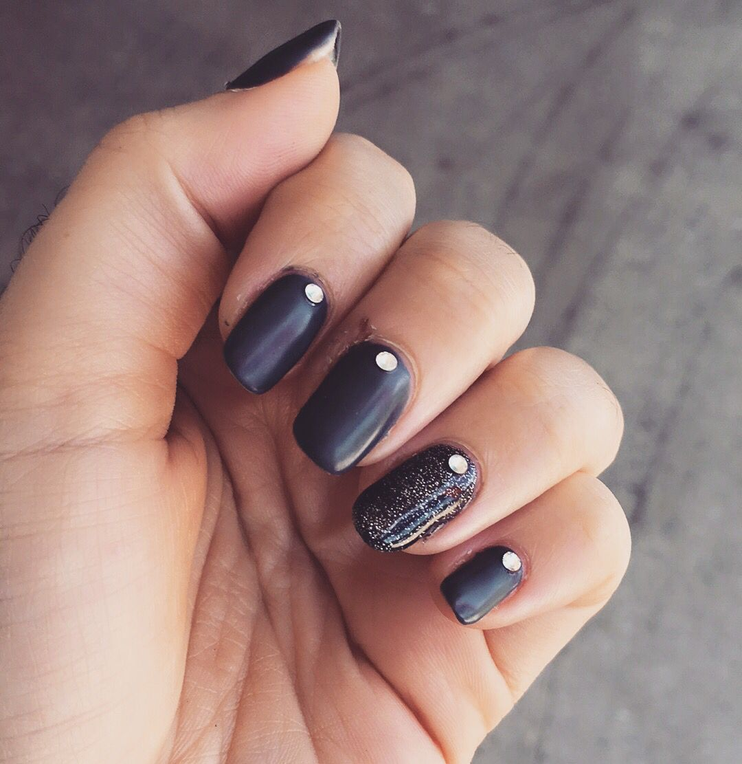 New dark grey matte nails with black onyx feature nail with crystals ...