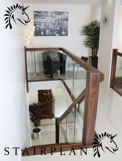 Best X Vision Walnut Glass Balustrade Glass Staircase Railing 640 x 480