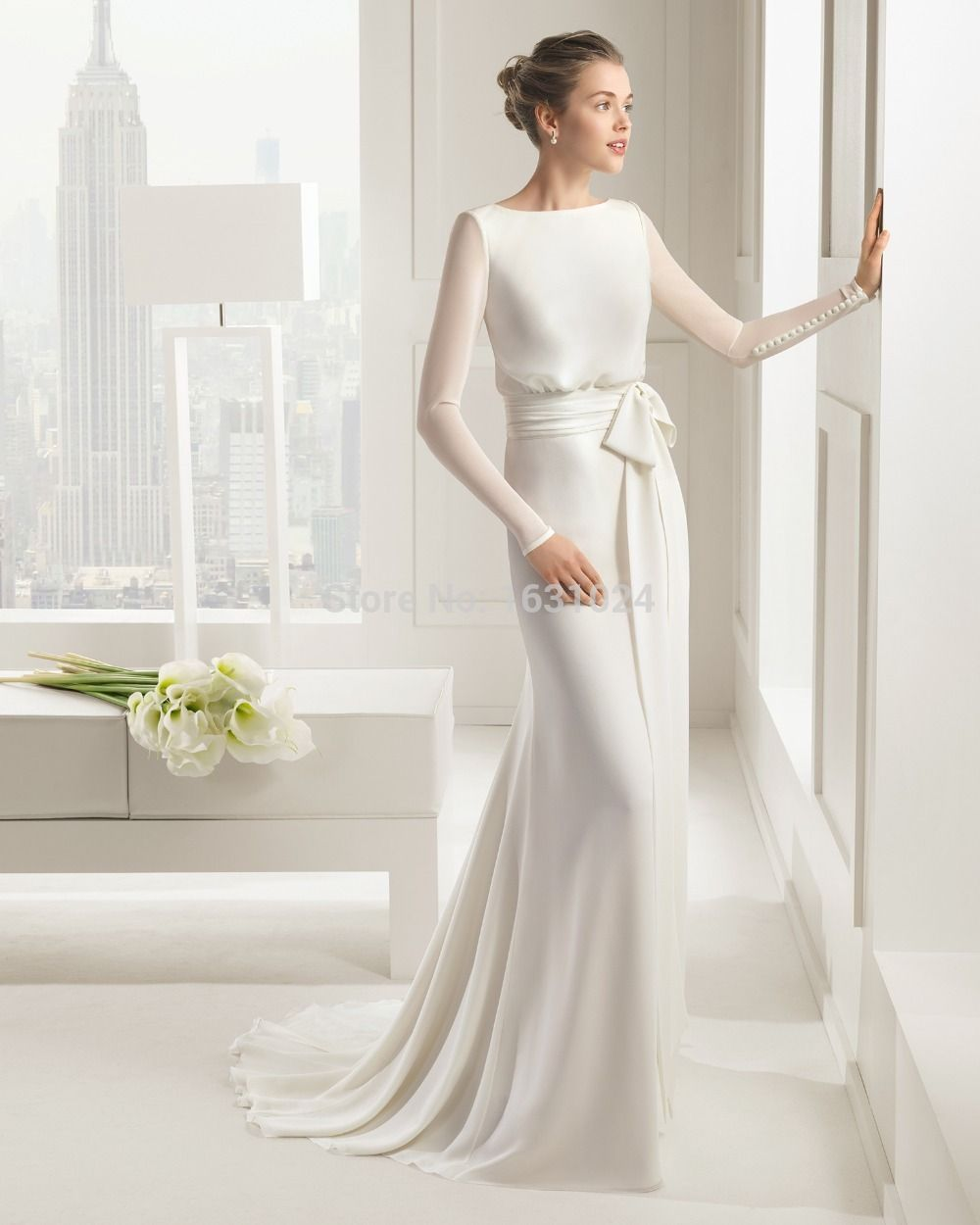 aliexpresscom buy simple elegant cheap wedding dresses with long sleeves buttons chiffon bridal