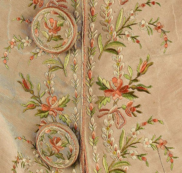 This textile image was collected from the MET pinterest. The velvet and plain ground under the dainty floral design is a popular Rococo style. (Suit/ ca.1780 british)