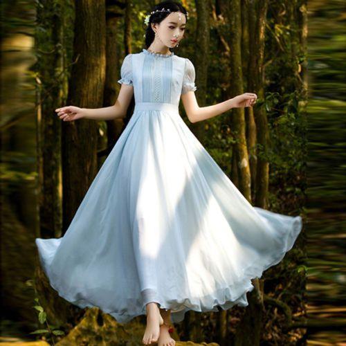 Sweet Lolita Vintage Retro Mori Girl Elegant Chiffon Slim Fairy ...