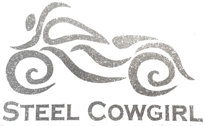 Steel Cowgirl GLITTER SILVER Womens Motorcycle Helmet Decal - Helmet decals motorcycle womens