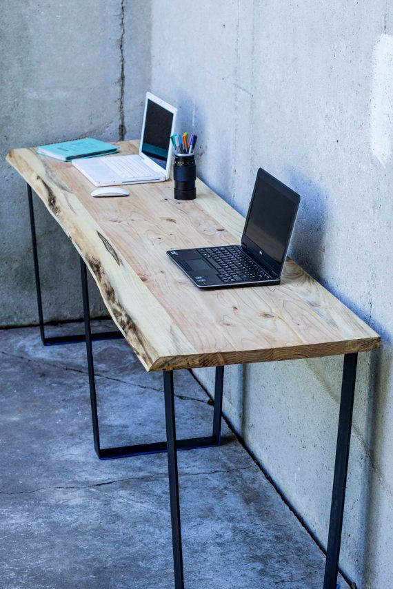Custom Wood And Metal Desk With Live Edge This Desk Has Three 1 4
