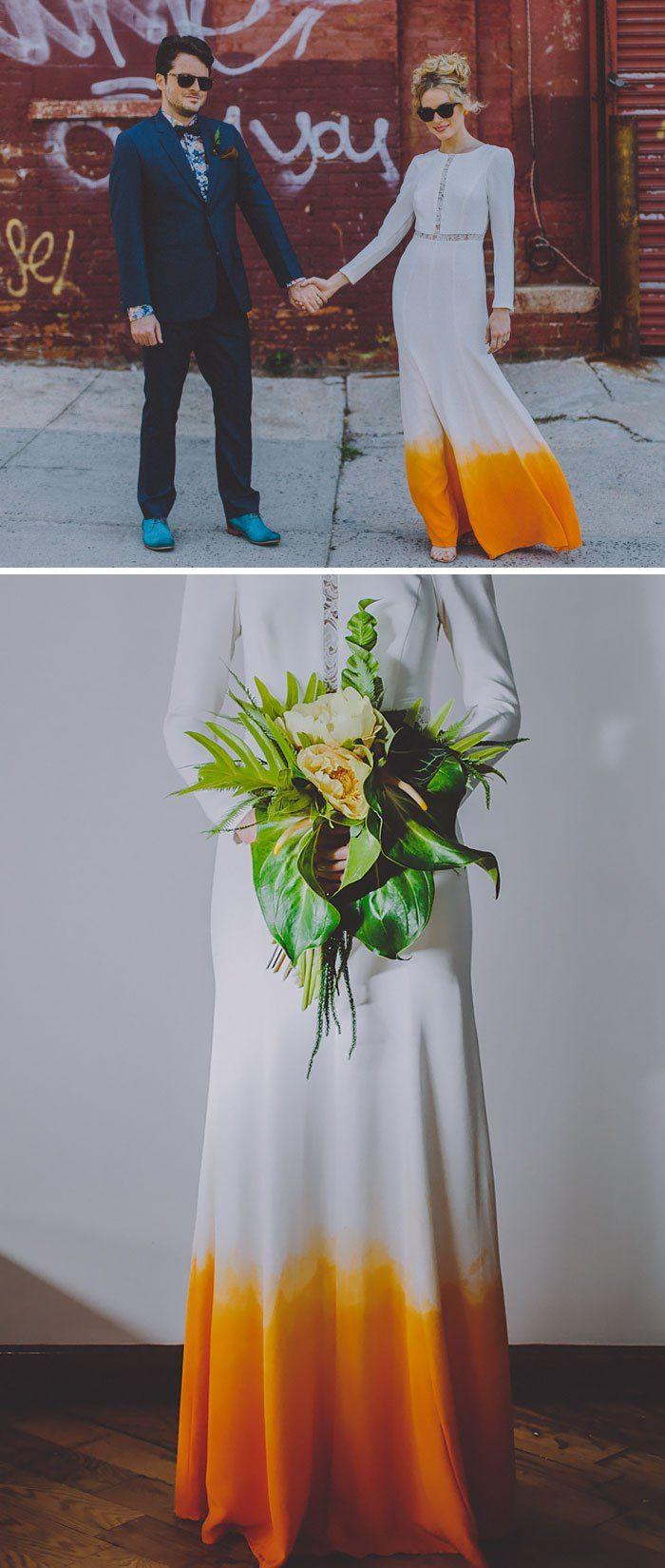 Dye wedding dress after wedding  Pin by Habiba Doorenbos on Love the dress  Pinterest  Dip dyed