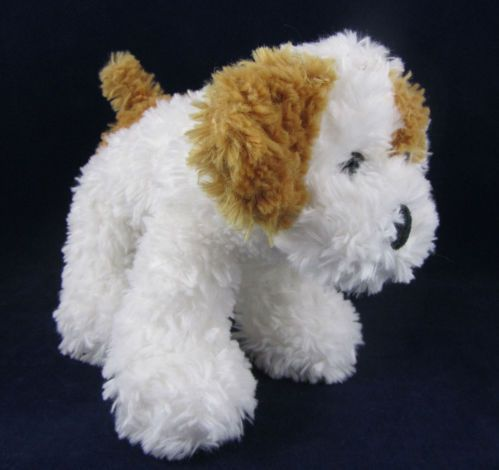 Best Made Toys Stuffed Dog White Fuzzy Plush Animal Brown Spots