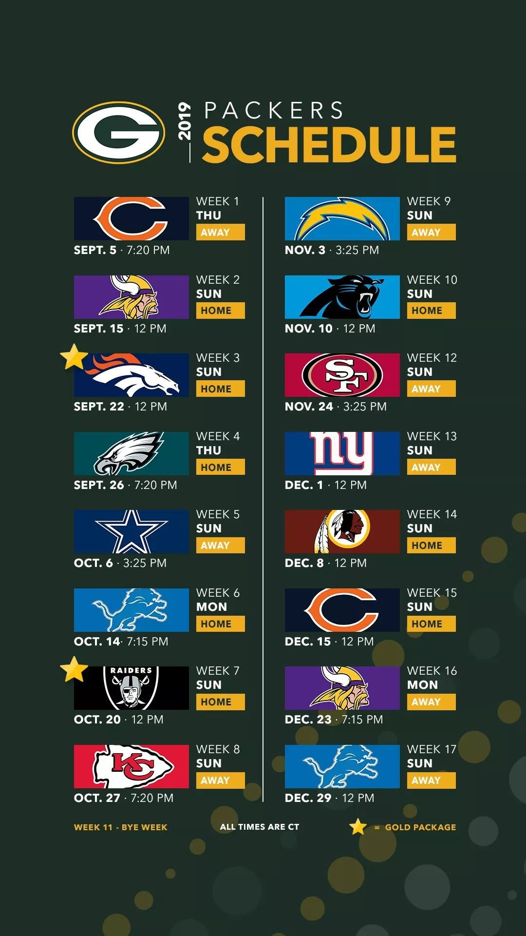 2019 Schedule Packers Schedule Green Bay Packers Packers