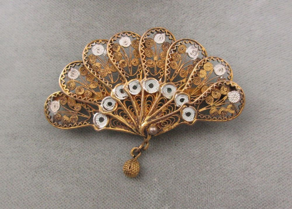 ON SALE Vintage Silver Filigree Brooch Costume Jewelry