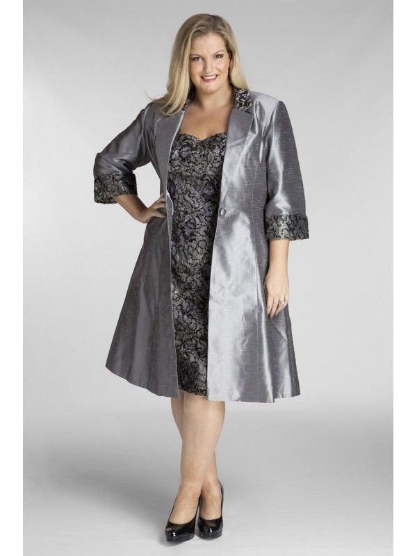 Special Occasion Sequin Lace Dress With Jacket In Charcoal M O B