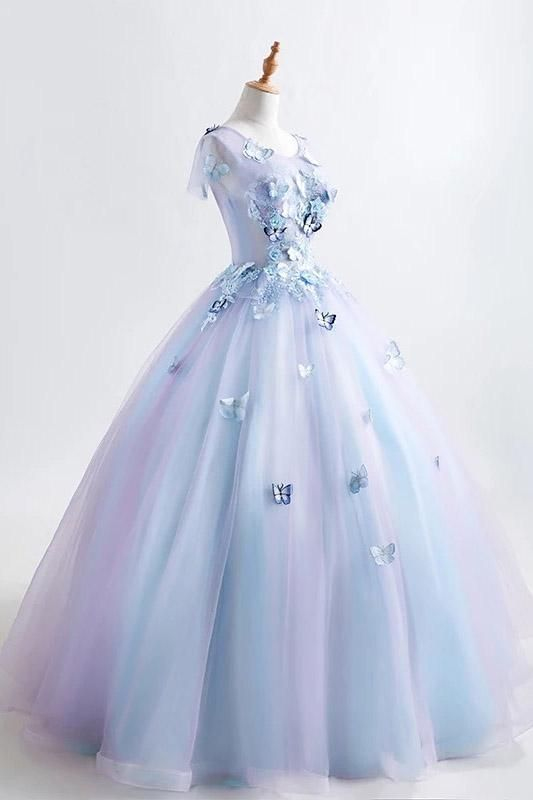 2a31ec21ac5 Princess Blue Quinceanera Dress 3D Butterfly Floral Applique Prom Ball Gown  OP436 – ombreprom.co.uk  bluequinceaneragown  ballgownpromdresses   ...