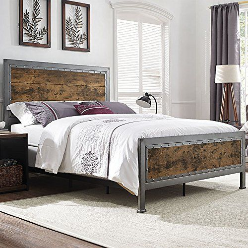 Queen Size Industrial Wood And Metal Bed Brown Furnitur Https Www Amazon Com Dp B06wwhvb7t Ref Cm Sw R Pi Dp X Bed Furniture Furniture Queen Panel Beds