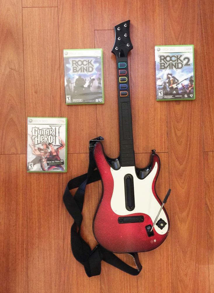 XBOX 360 Guitar Hero WIRELESS Controller ROCKBAND 3 GAMES
