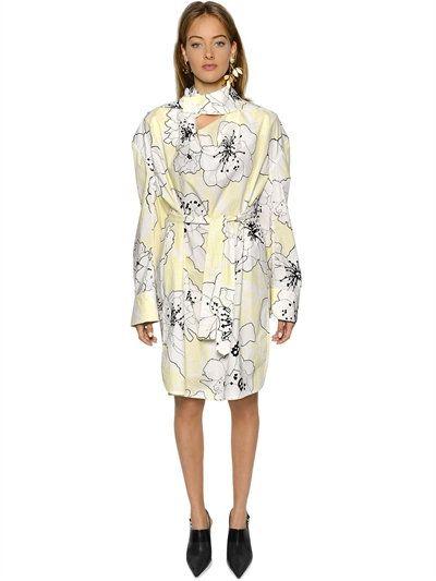 MARNI OVERSIZED PRINTED COTTON POPLIN DRESS, LIGHTYELLOW. #marni #cloth #dresses