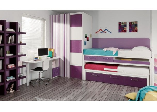 Habitaci n con 2 camas cajones y zona estudio mobiliario for Muebles juveniles zona sur