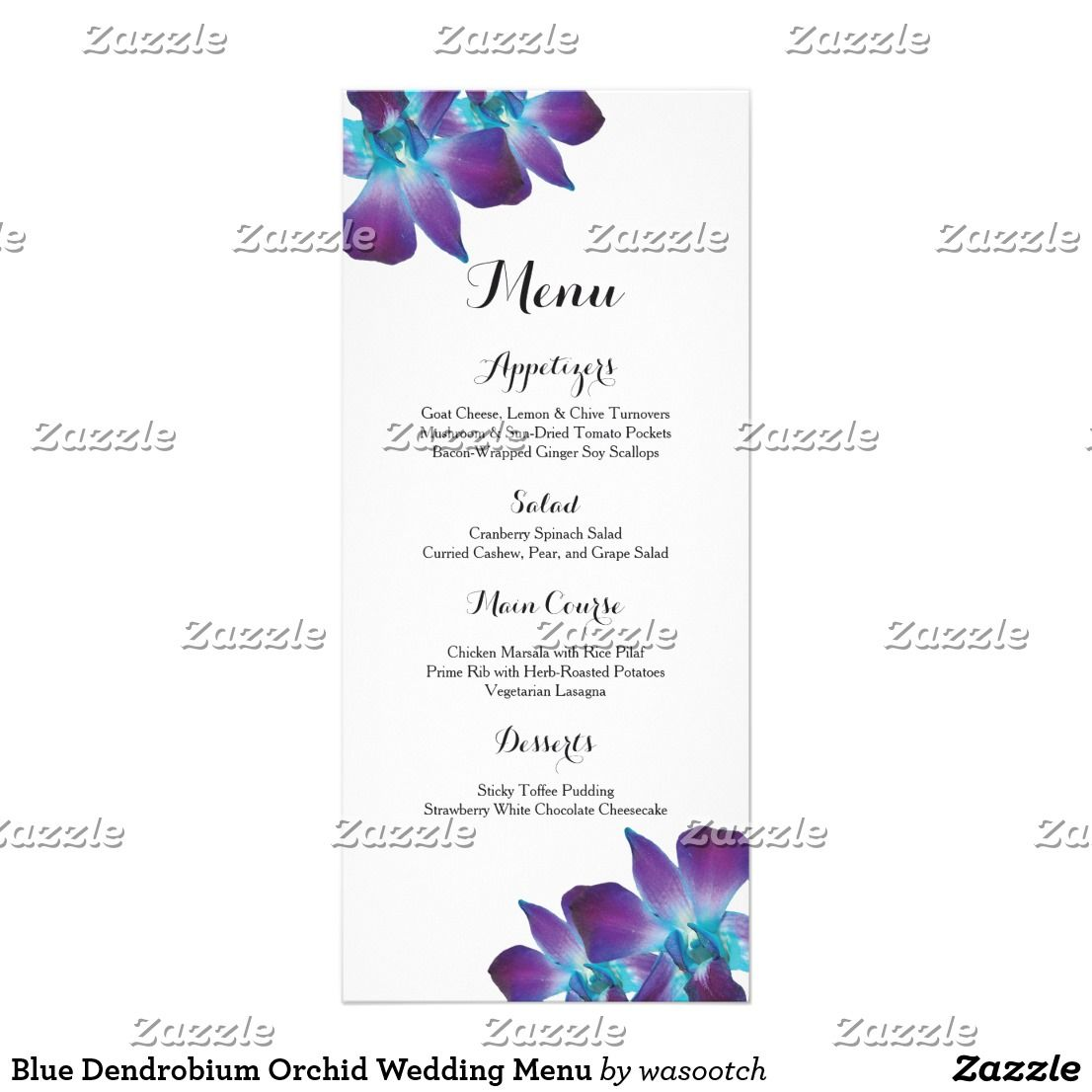 Blue dendrobium orchid wedding menu dendrobium orchids menu cards