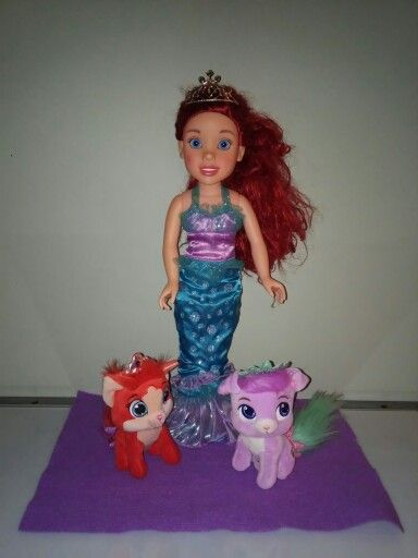 Palace Pet Centerpiece Princess Me Ariel With 6 Plush Palace Pets Treasure The Kitty And Matey The Puppy Palace Pets Disney Princess Matey