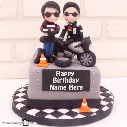 Bikers Happy Birthday Cakes For Boys With Name HBD Cake