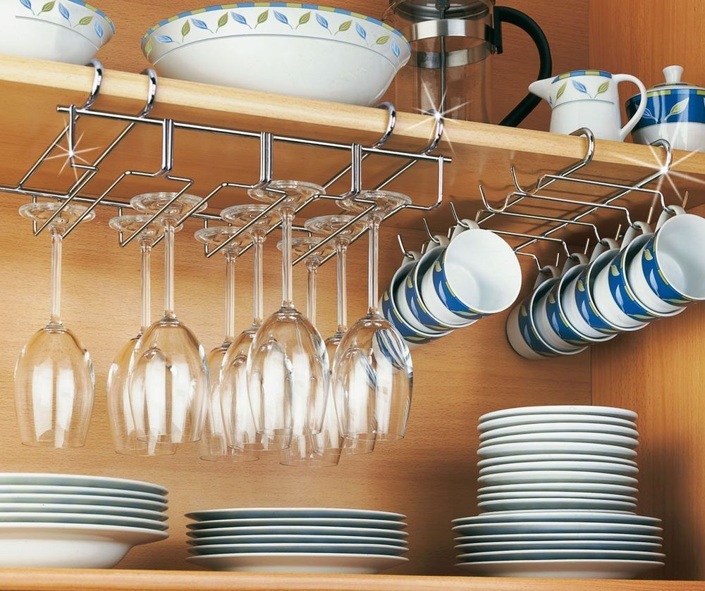 Details about Stainless Steel Chrome Coated Kitchen Rack Mug Cup Under Shelf Wine Glass Holder
