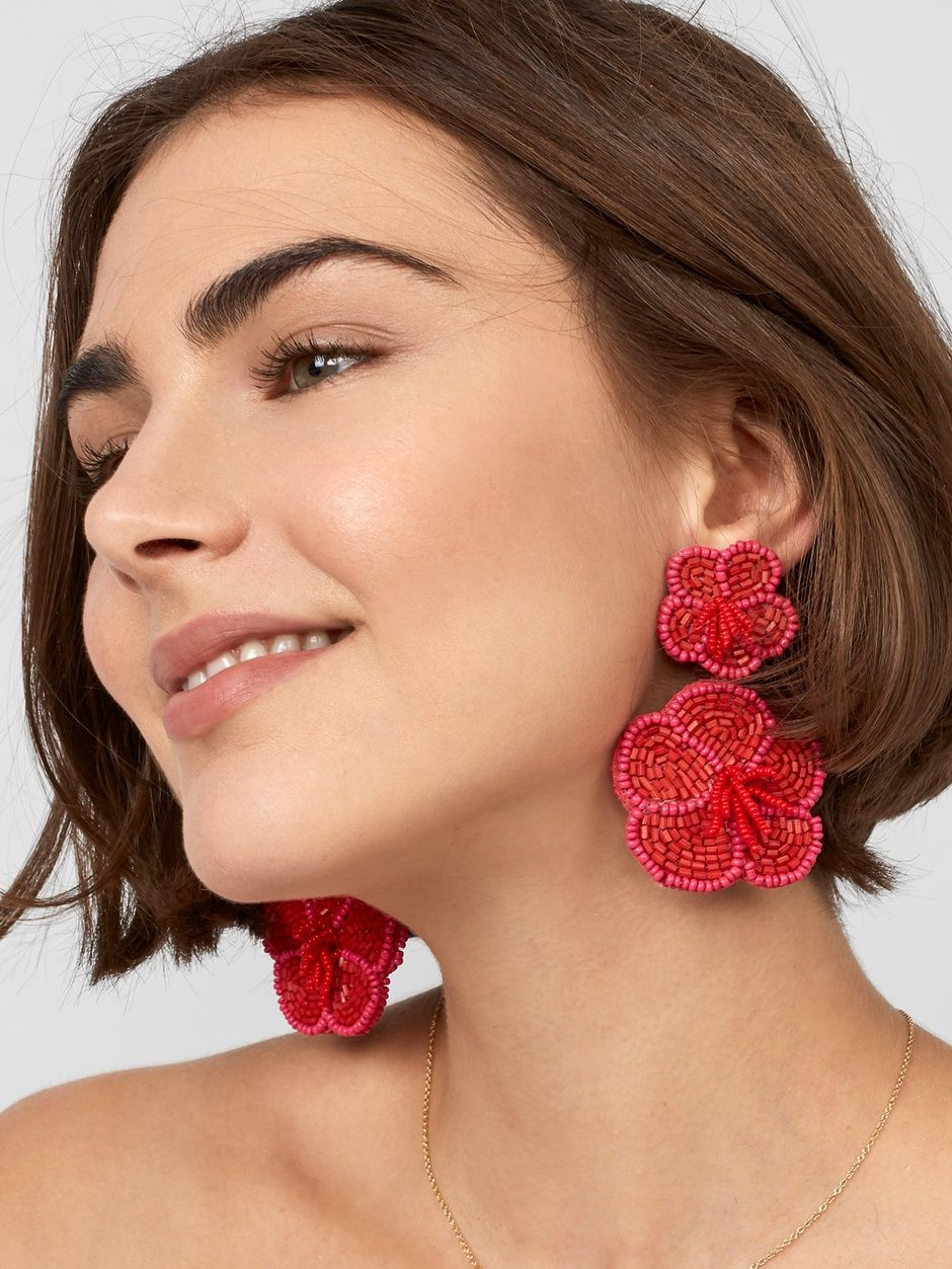 Baublebar Rosa Flower Drop Earrings Red Bisuteria Aretes Pendientes Con Cuentas Aretes