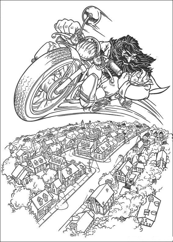 Hagrid With Motorcycle Coloring Pages Free | Coloring For Adults ...