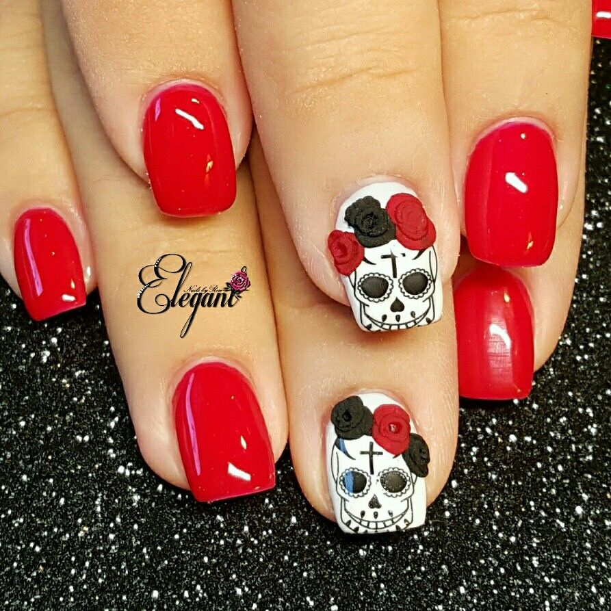 Dia de Los Muertos Nails   Uñas   Pinterest   Sugar skull nails ...
