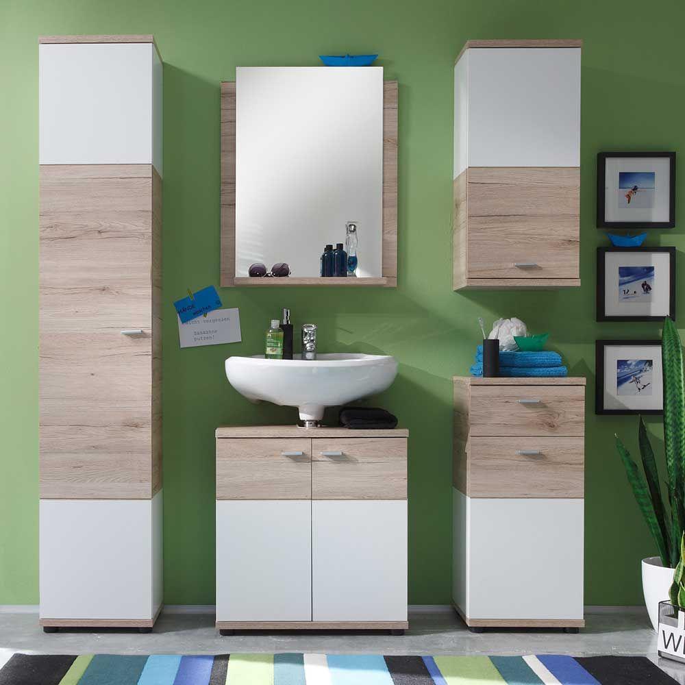 Badezimmermöbel Set mit Spiegel Weiß Eiche (5teilig
