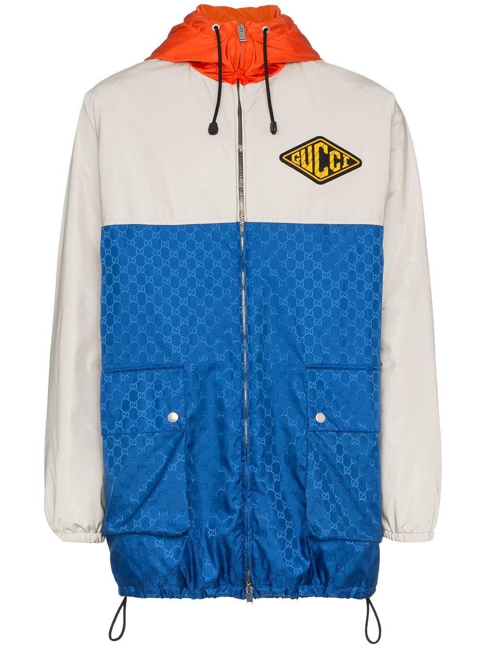 Gucci Gg Jacquard Logo Hooded Jacket Farfetch Hooded Jacket Jackets Outerwear Jackets [ 1334 x 1000 Pixel ]