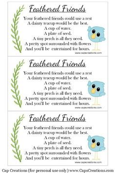 Cap Creations: Teacup Bird Feeder Poem (Free Printable)