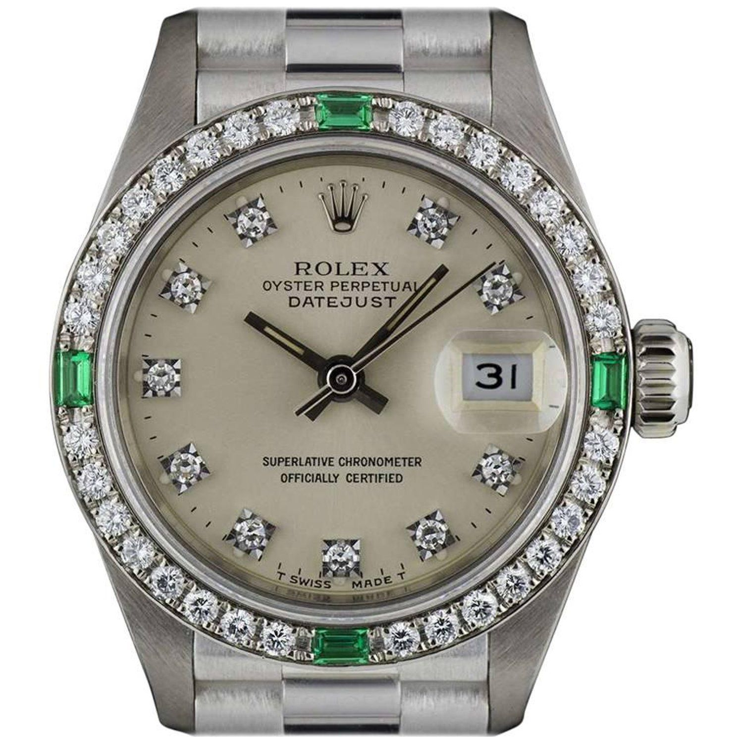 Rolex White Gold Diamond And Emerald Set Datejust 69079 Automatic Ladies Watch White Gold Diamonds Womens Watches Rolex