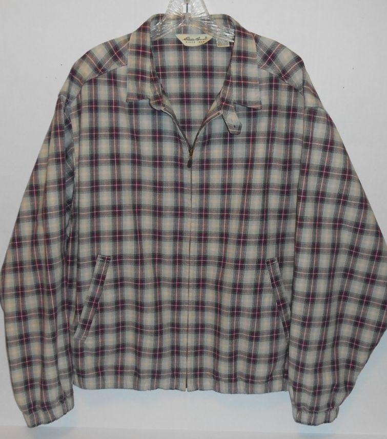 Vintage Ed Bauer Full Zip Men S Size Large Plaid Harrington Jacket Wpl 9647 Edbauer