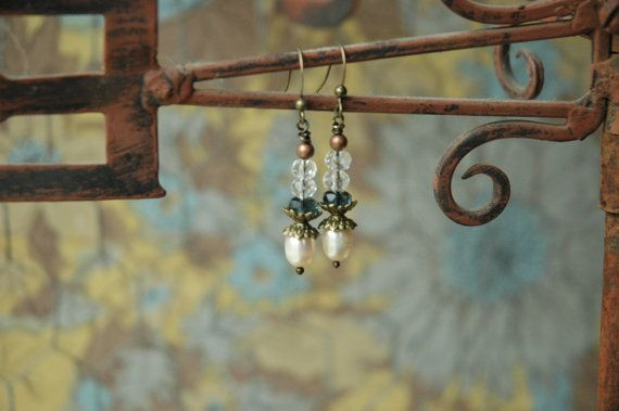Creamy White Fresh Water Pearls Faceted Oval Glass by MemesShoppe, $28.00