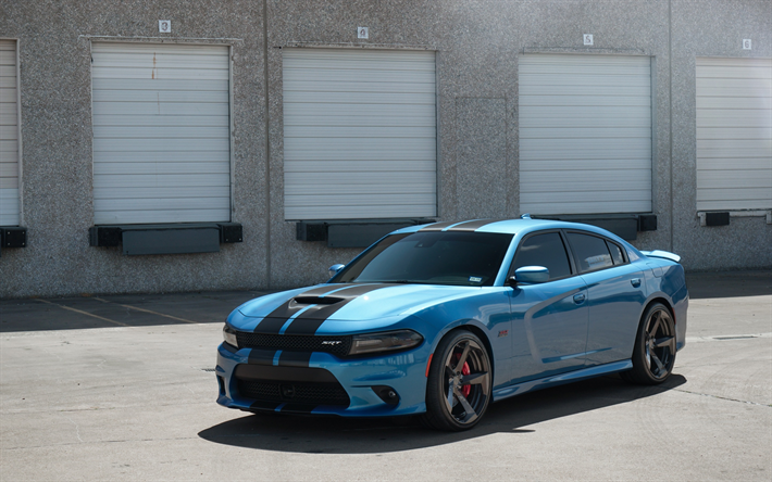 Wallpapers Dodge Charger Srt 2017 Tuning Blue Sedan Racing Track American Cars Bailys
