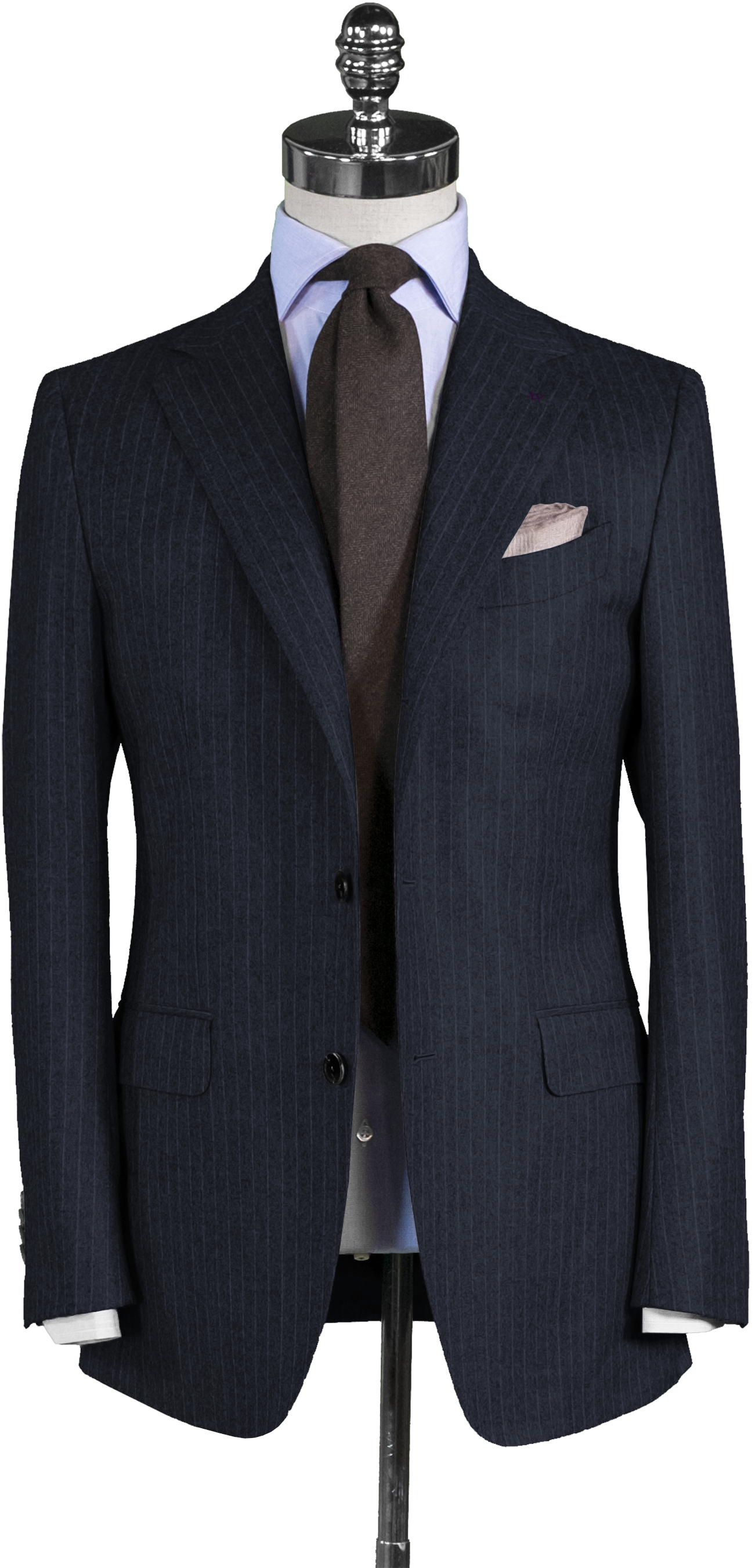 Navy Chalk Stripe Flannel Suit - Beckett   Robb 08ebc0ebc