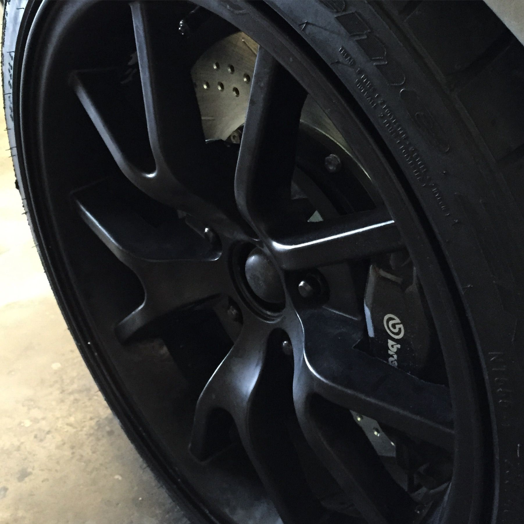 """Brembo calipers, Baer 14"""" cross drilled and slotted rotors.  World class stopping power for a Retro-magined Shelby GT500R"""