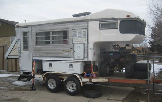 Starling Travel A Truck Camper On A Flatbed Trailer Flatbed Trailer Slide In Truck Campers Truck Bed Trailer