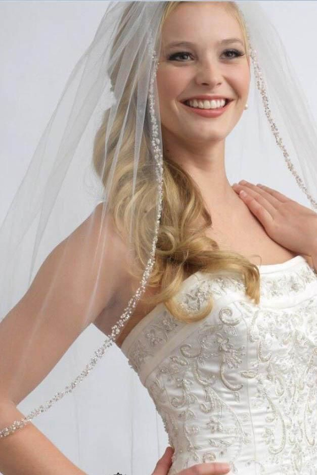 Passat 2T Fingertip Veil Sparkling Rhinestone Lined Wedding Veil For Bridal 225