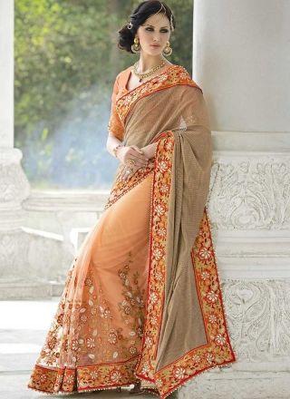 f11dd28ca56765 Peach Embroidery Work Moti Work Fancy Net Wedding Designer Half Sarees  http://www