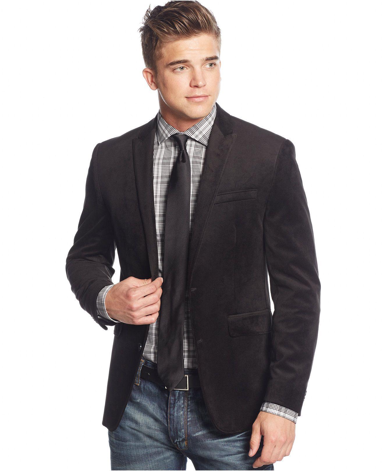 Bar III Black Velvet SlimFit Sport Coat Tuxedos