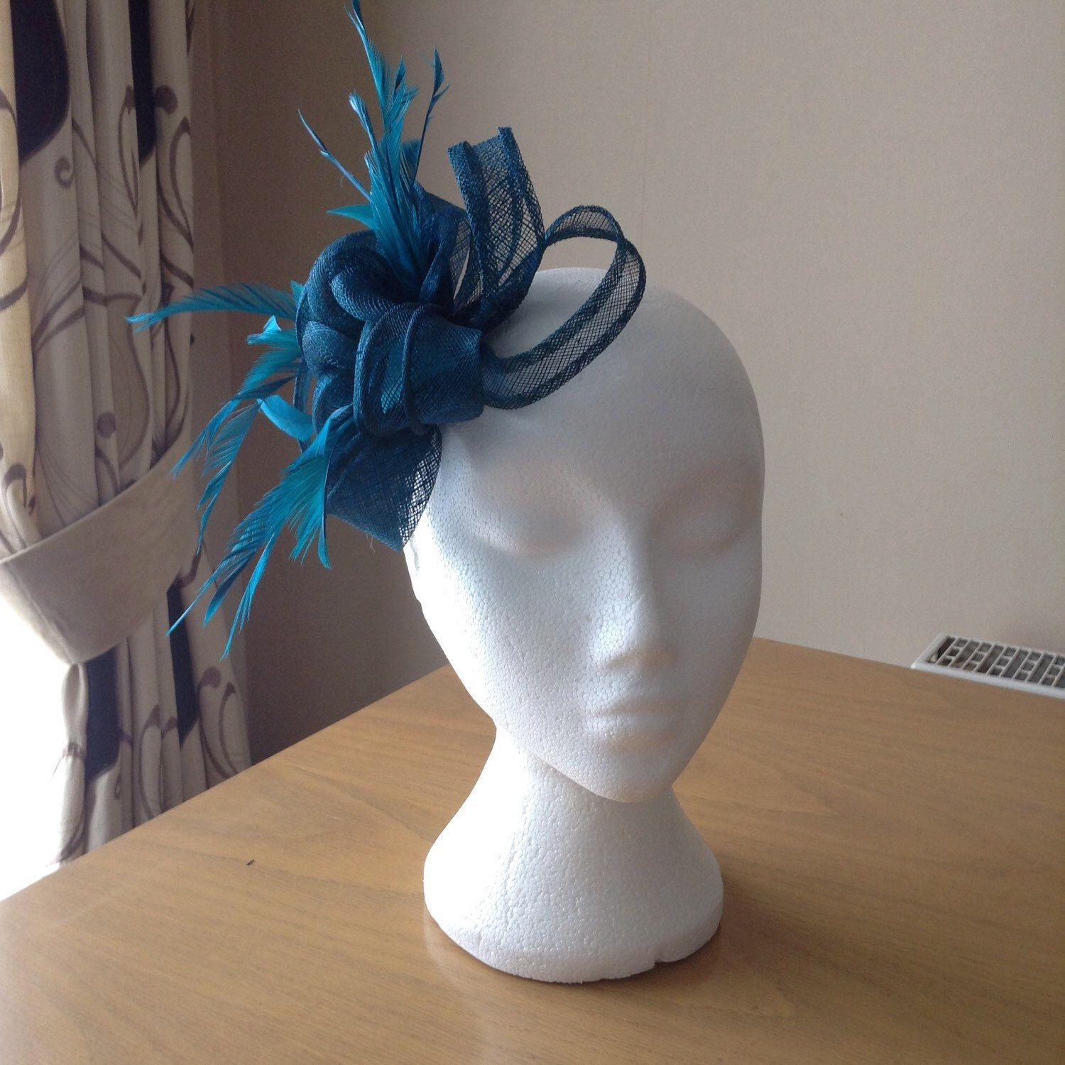 7297a52c9bf Petrol Green Blue Fascinator and Feather Fascinator on a clip races,  weddings, special occasions