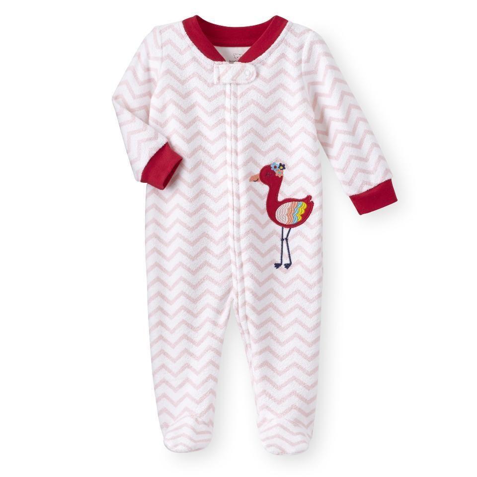 da2b646ec Koala Kids Baby Pink Flamingo Terry cloth Footed Onesie Footie ...