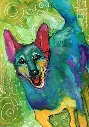 """Frankie Pig"" ATC watercolor."