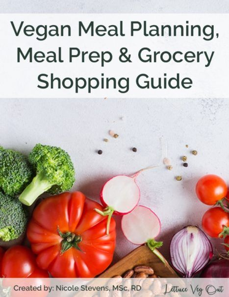 Meal plan, meal prep and grocery shop like a pro! This guide walks you through everything you need to know about creating a balanced vegan meal plan, selecting a meal prep style that works best for you and grocery shop on a budget. Written by vegan Registered Dietitian, Nicole Stevens, MScFN, RD. #mealplanning #mealprep #vegan #vegandiet #vegannutrition #veganlife #veganlifestyle #veganhealth #plantbased #groceryshopping #veganmealplan #veganmealprep #vegangrocery #grocerylist