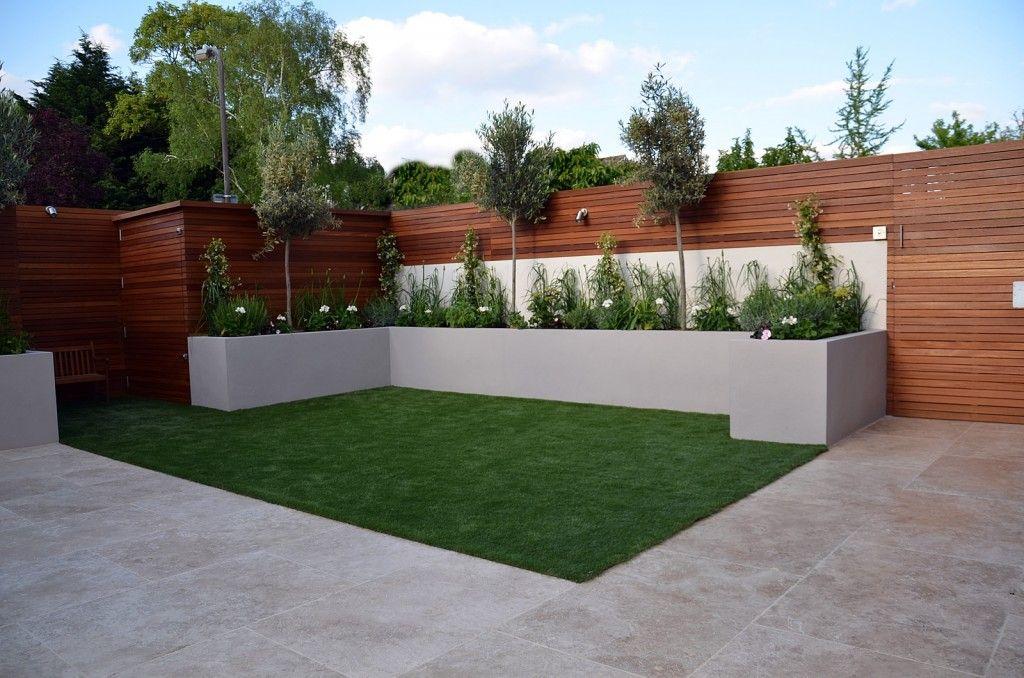 hardwood screen grey render raised beds travertine cream paving bespoke storage modern garden